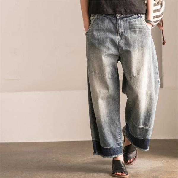 Color Faded Raw Edges Baggy Denim Pants Womans Fashion Trousers