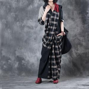 Front Cross Plaids and Stripes Casual Maxi Dress Linen Long Sleeve Dress