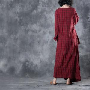 Spring Fashion Plaids Fit and Flare Dress Loose Pleated Red Dress