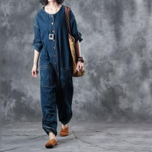 Single Breasted Distressed Denim Overalls Baggy Womans Jeans
