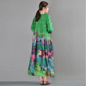 Loose-Fitting Artistic Prints Green Dress Spring Silk Long Sleeve Dress