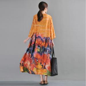 Abstract Printing Silk Vintage Dress Beautiful Loose Holiday Dress