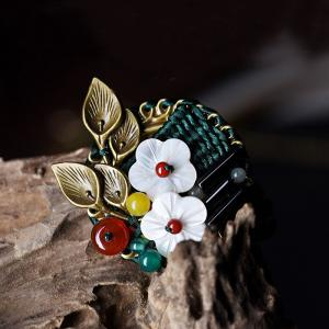 Chinese Style Shell Flowers Vintage Brooch Agate Personalized Jewelry