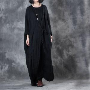 High-End Belted Linen Customized Dress Layering Vintage Black Dress