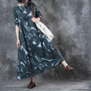 New Arrival Womans Loose Black Dress Linen Printed Resortwer