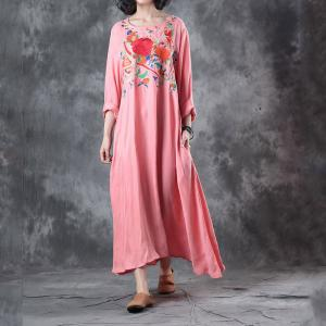 Loose-Fitting Peony Embroidery Casual Maxi Dress Pink Silk Beach Dress