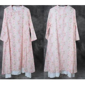 Stand Collar Buttons Decoration Chinese Dress Layering Floral Vintage Dress