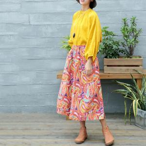 Ethnic Printing Linen Wide Leg Pants Colorful Casual Ninth Trousers