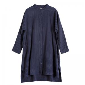 BF Style Linen Pinstriped Shirt Dress Casual Knee Length Dress