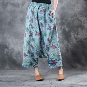 47a258e4ae4 Casual Style Cotton Harem Pants Womans Floral Trousers - Morimiss.com