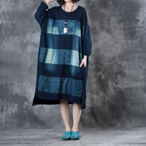 Long Sleeve Denim Dress Patchwork Plus Size Knee Length Dress