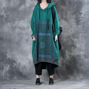 Folk Prints Plus Size Hoodie Dress Long Sleeve Cotton Maternity Clothing