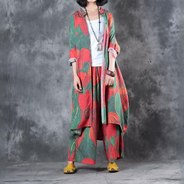 Big Flowers Prints Long Ladies Blouse with Casual Wide Leg Pants