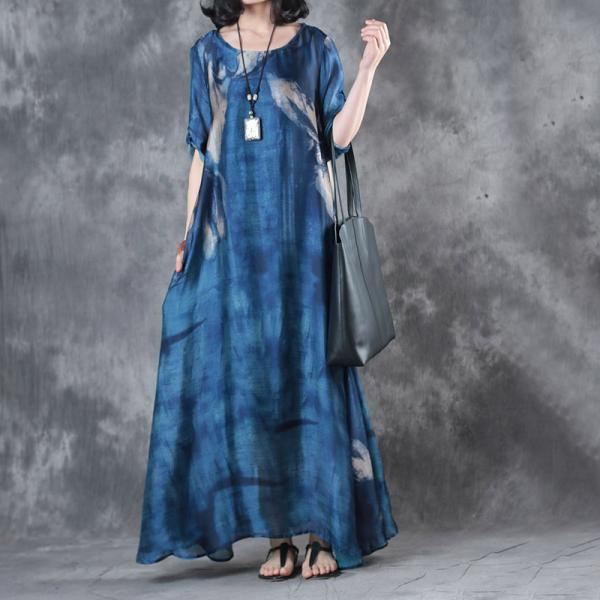 Spring Fashion Printing Blue Dress Loose Vintage Kaftan Dress