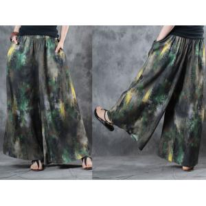 Over 50 Style Green Prints Asymmetrical Top with Cotton Linen Wide Leg Trousers