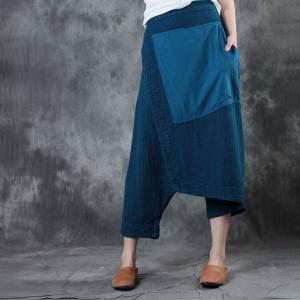 Patchwork Linen Designer Pants Loose Harem Cropped Trousers