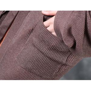 Easy-Matching Belted Knitting Cardigan Hem Slit  Womans Long Outerwear
