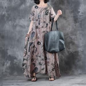 Chinese Ink Painting Short Sleeve Dress Summer Loose Maxi Dress