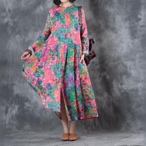 Colorful Pleated Oversized Shirt Dress Womans Loose Linen Clothing