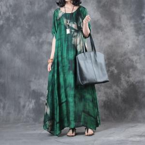 Over50 Style Green Silk Satin Dress Flowers Prints Fit and Flare Dress