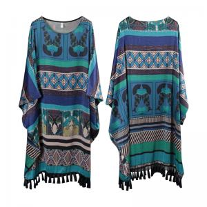 Bat Sleeve Fringed Edge Folk Dress Blue Plus Size Cloak Dress