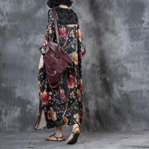 Vintage Style Flowers Prints Black Chiffon Dress Plus Size Long Cardigan