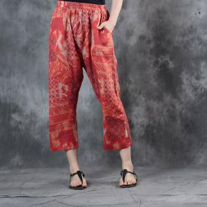 Red Prints Linen Cropped Pants Womans Summer Loose Trousers