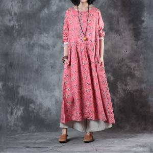 Girlish Loose Ramie Resortwear Beautiful Floral Dress