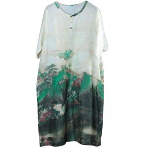Chinese Vintage Plus Size Tunic Green Prints Ramie Short Dress