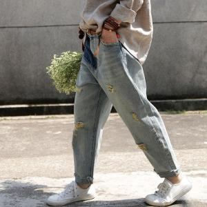 Street Fashion Womans Ripped Jeans Blue Contrast Baggy Jeans
