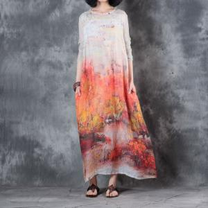 Color Printing Silk Sleeve Loose Dress Chinese Vintage Maxi Dress