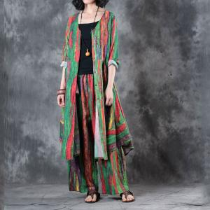 Over50 Style Colorful Stripes Ladies Shirt with Wide Leg Pants