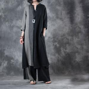 Black Contrast Long Linen Blouse with Womans Wide Leg Trousers
