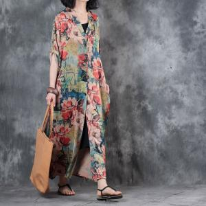 Flowers Prints Front Slit Designer Maxi Dress V-Neck Elegant Dress