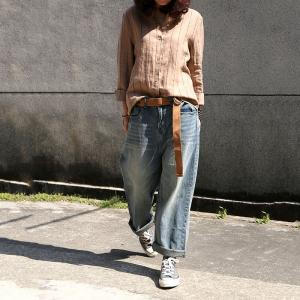 Summer Fashion Womans Baggy Jeans Soft Cotton Jeans with Belts