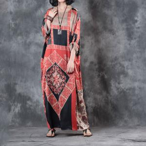 Large Size Ethnic Prints Casual Maxi Dress Beautiful Red Folk Dress