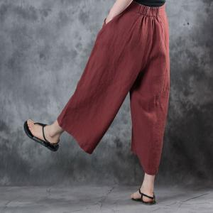 Linen Wide Leg Trousers Womans Gaucho Pants