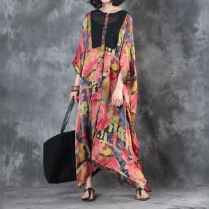 Bat Sleeve Flowers Printing Kaftan Dress Elegant Plus Size Red Cardigan