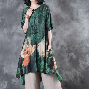 Flowers Printing Chinese Vintage Clothing Silk Satin Loose Tunic for Senior Woman