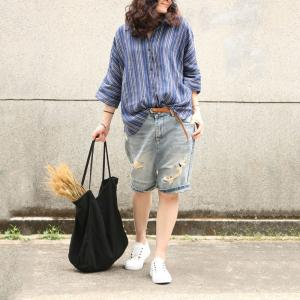 Casual Style Striped Ladies Shirt Linen Oversized Blouse