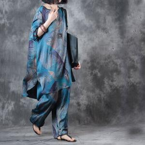Blue Printing Silk Satin Loose Blouse with Vintage Wide Leg Pants