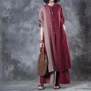 Red Contrast Linen Plus Size Tunic with Womans Wide Leg Pants
