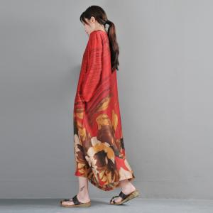 610e06537b Vintage Flowers Red Fit and Flare Dress Plus Size Maxi Dress with Camisole