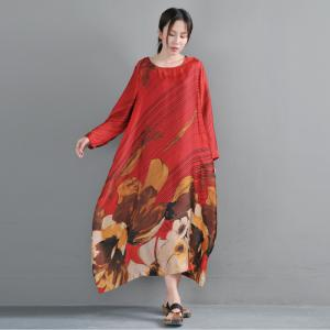 c7e59eab8c Vintage Flowers Red Fit and Flare Dress Plus Size Maxi Dress with Camisole  - Morimiss.com