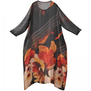 Ladylike Big Flowers Black Dress Silk Flare Holiday Dress with Camisole