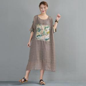 Beautiful Flowers Patchwork Plus Size Linen Dress Back Printing Summer Dress