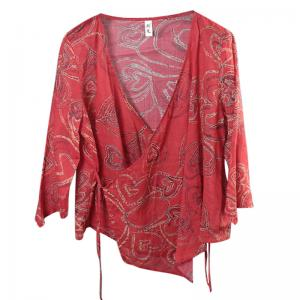 Over50 Style Heart Patterns Short Cardigan Belted Red Blouse