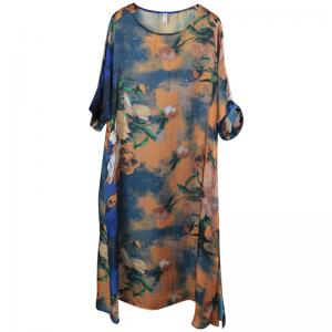 Blooming Flowers Half Sleeve Vintage Dress Summer Beautiful Frock