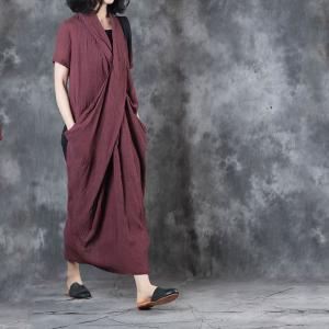 Solid Color Front Cross Loose Dress Back Slit Linen Clothing