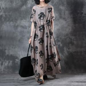 5603064b646 Abstract Printing Belted Empire Waist Dress Over 50 Style Casual Maxi Dress